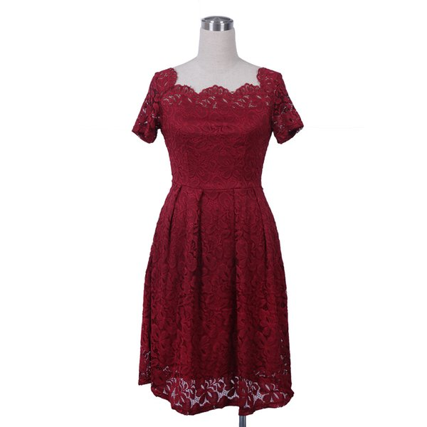 Kleid mit uboot ausschnitt in spitzenoptik