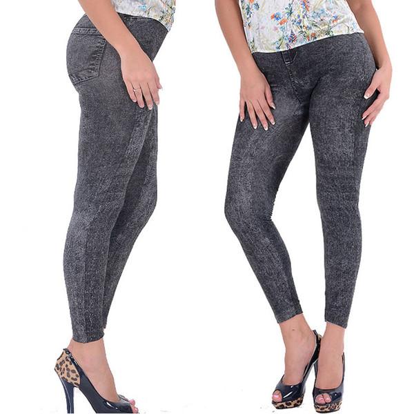 Al por mayor-venta caliente Lady Girl negro Sexy Faux Jean Skinny Jeggings pantalones elásticos delgados más el tamaño del tobillo pantalones de mujer Jeans
