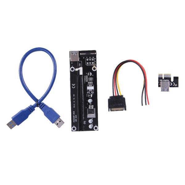 Yeni özellik 1X IÇIN 16X PCI-E PCI E Express Yükseltici Genişletici Adaptör Kartı ile 60 cm USB 3.0 Bitcoin için Güç Kablosu
