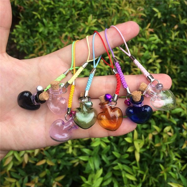 Glass Bottles Charms Hearts Shape Mini Bell Bracelets Bottles with Key Chains Jars Glass Charms Mixed Colors 7pcs