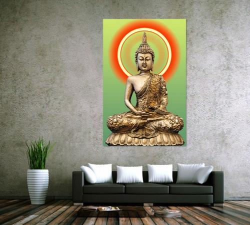 Emoldurado Pura Mão Pintada Moderna Arte Budista Pintura A Óleo de Ouro Buda, Casa Decoração Da Parede Na Lona Grossa de Alta Qualidade Tamanho Múltiplo