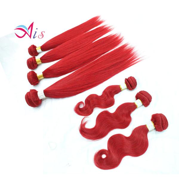Brazilian Hair Weaves Body Wave Full Red Purple Blue Pink Remy Human Hair Weaves