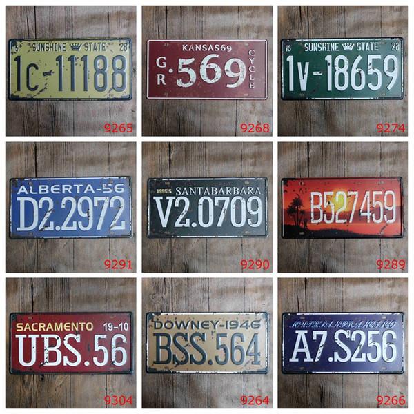 high quality embossed Car Metal License Plate Vintage Home Decor Tin Sign Bar Pub Cafe Garage Decorative Metal sign