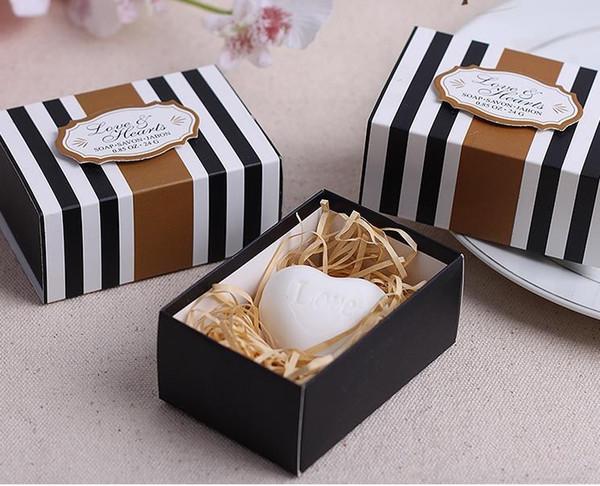 Bomboniere nuziali di sapone profumato classico cuore 100 scatole / lotto