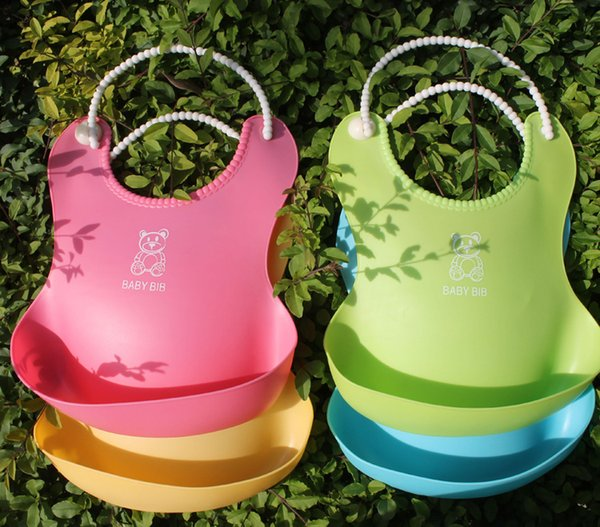 DHL New Baby Infants Kids Cute Bibs Lunch Bibs Newborn Children Waterproof Towel Washable Feeding Silicone Burp 0-6T 4 Color L001