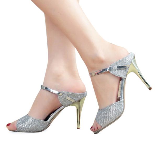 Élégant D'été D'été Cheville Wrap Chaussures De Mariage 2017 Sexy Femmes Talons Sandales Shallow Poisson Bouche Femmes Sandales D'or Silve