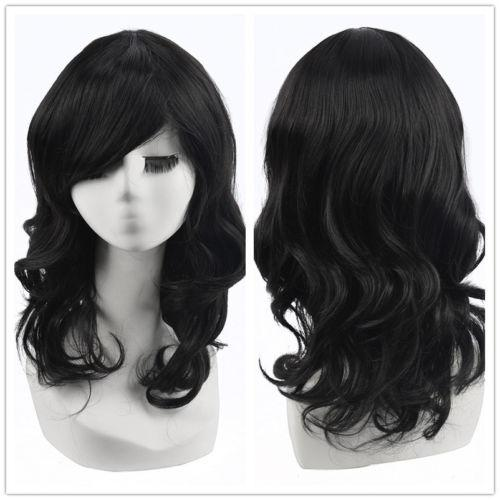 Black Wig Cap Women Natural Medium Length Wavy Curly Layered Hair Wigs