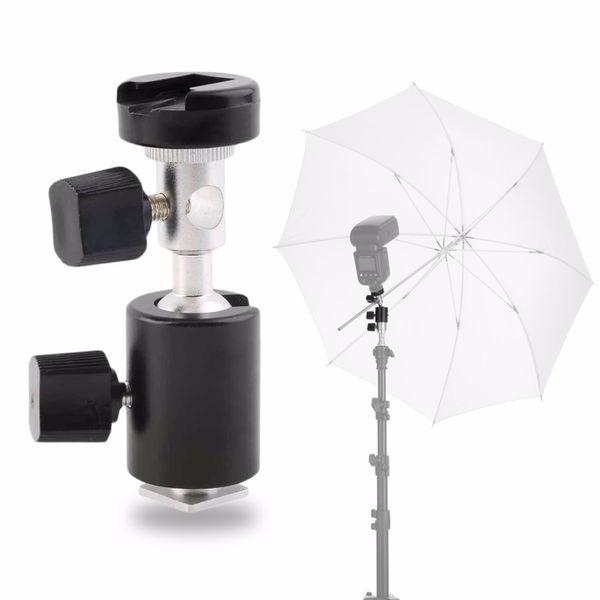 Wholesale- Universal 360 Degree Camera Flash Hot Shoe Adapter Umbrella Holder Swivel Light Stand Bracket Type C Photography Accessory Black