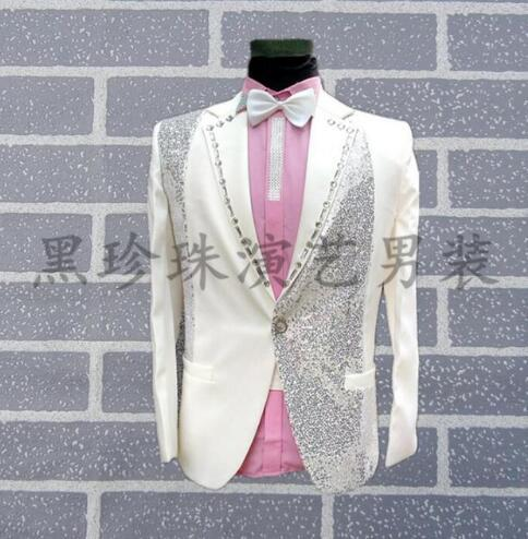 White fashion slim sexy men suits designs stage costumes for singers men sequin blazer dance clothes jacket style groom formal dress england