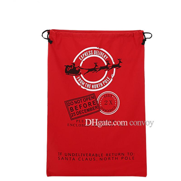 Christmas Large Volume Santa Claus Sack Bags with Adjustbale Drawstring Xmas Reindeers Monogramable Pattern Gifts Bags Free DHL CFB06