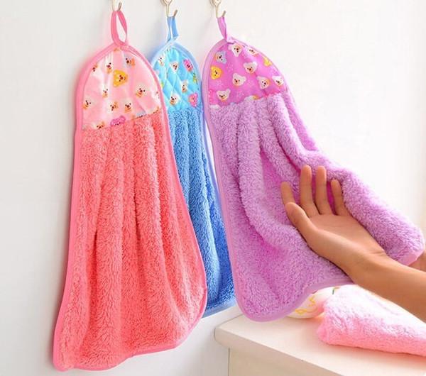 Multifunctional Coral Velvet Hanging Face Towel Water-absorbing Towel Cleaning Cloths Random Color Kichen Gadgets Random