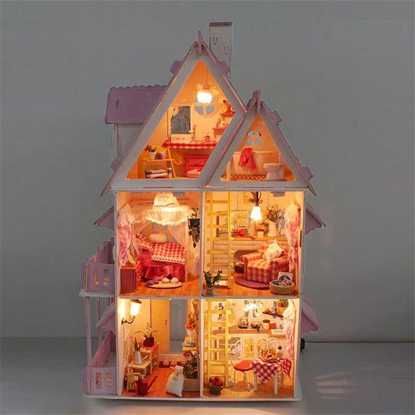 Wholesale  3D Handmade Big Doll House Furniture Miniatura Diy Miniature  Dollhouse Wooden Toys For Children