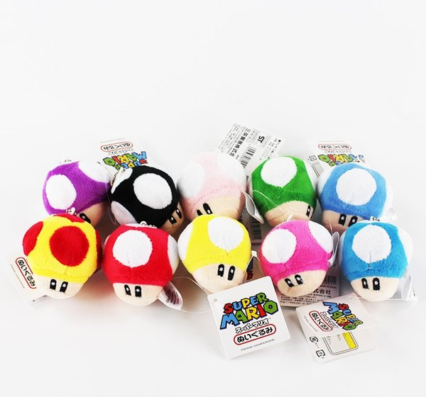 """Hot Sale Super Cute Mario Bros Mushroom With Key Chain Plush Doll 2.5"""" Toy doll 10colors Free shipping"""