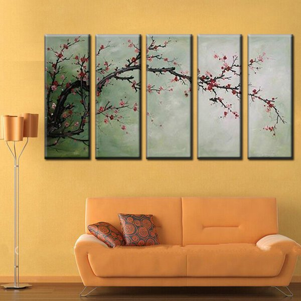 Hand Painted large tree Canvas Oil Painting china japan sakura Cherry blossoms Plum tree Picture For Living Room Wall Decor