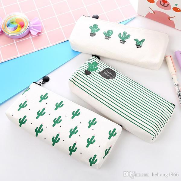 Originalità Sacchetti per matite Cacti Stampa Zipper Canvas Stationery Case Pupil Classroom Articoli essenziali per regalo per studenti 2 9bw C R