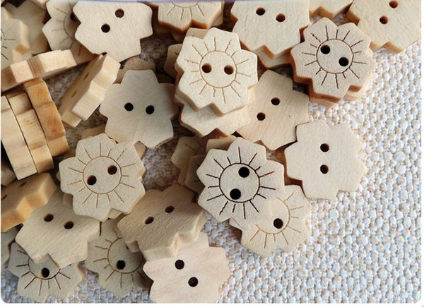 Wholesale Acces 100PCs Wood Buttons Sewing Scrapbooking Flower Dots 16mm Wooden Buttons Wood Button