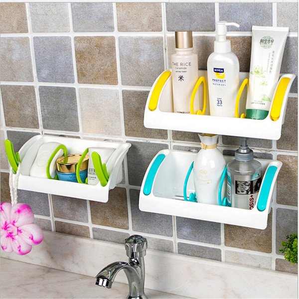 3 colors Useful Kitchen Double Suction Cup Sink Shelf Soap Sponge Drain Rack Kitchen Sucker Storage Tool