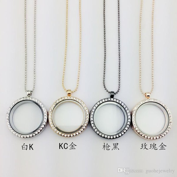 Women Statement necklaces openable glass box Locket Necklaces Round diamond DIY photo frame necklaces free shipping