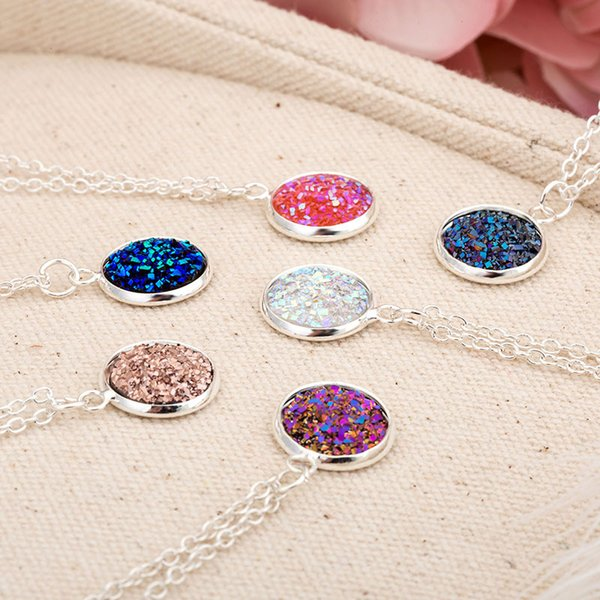 12 Colors Druzy Drusy Necklace Stainless Steel Chain Geometry Resin Lava Stone Necklaces New York Brand Jewelry