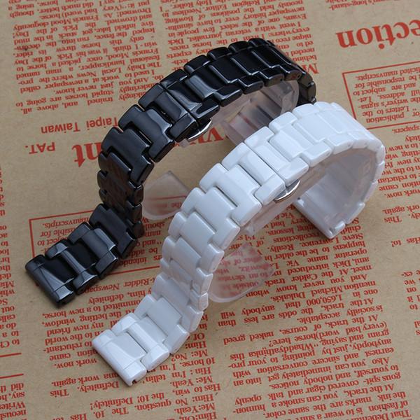 Nuovi cinturini in ceramica nera 14mm 16mm 18mm 20mm 22mm luminoso bellissimo cinturino cinturino bracciali farfalla chiusura dispiegamento uomini donne