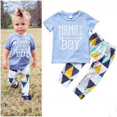 Baby Clothing Set Blue T-shirt Pants Two-piece Set Short Sleeve Tops Geometric Patterns Cotton Pants Arrow Printes Mama's Boy Suits