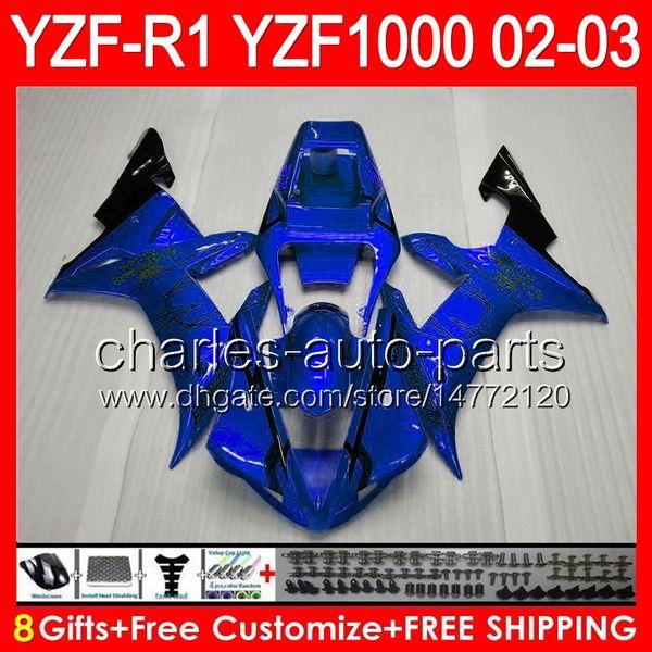 8gifts Cuerpo azul CORONA Para YAMAHA YZFR1 02 03 YZF1000 YZF-R1 02-03 92NO92 YZF 1000 YZF-1000 YZF R 1 YZF R1 2002 2003 CORONA azul