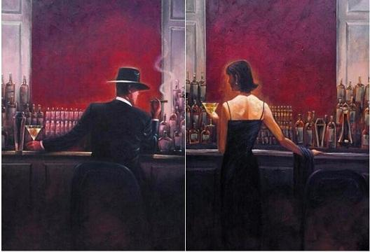 best selling 2pcs of the cigar bar Men and women, Quality Hand Painted  HD Print Pop Art Oil Painting Canvas.Multi Sizes Options Free Shipping a-sanshui
