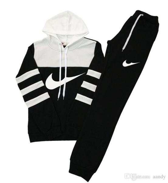 Frauen beiläufige Sport Hooded Sweatshirts + Pants 2PC, Groß- und Kleinhandel weibliche Läufer, Hit Farbe Anzug Frau Sweatshirts Trainingsanzug