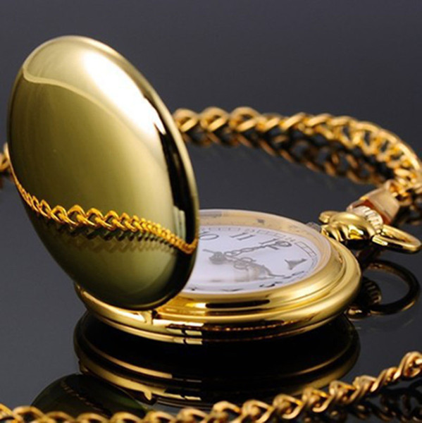 Silver Gold Black Polish Pocket Watch New Designer Watches with Gold chain Necklaces pendants Fashion Jewelry for Men Women Drop Shipping