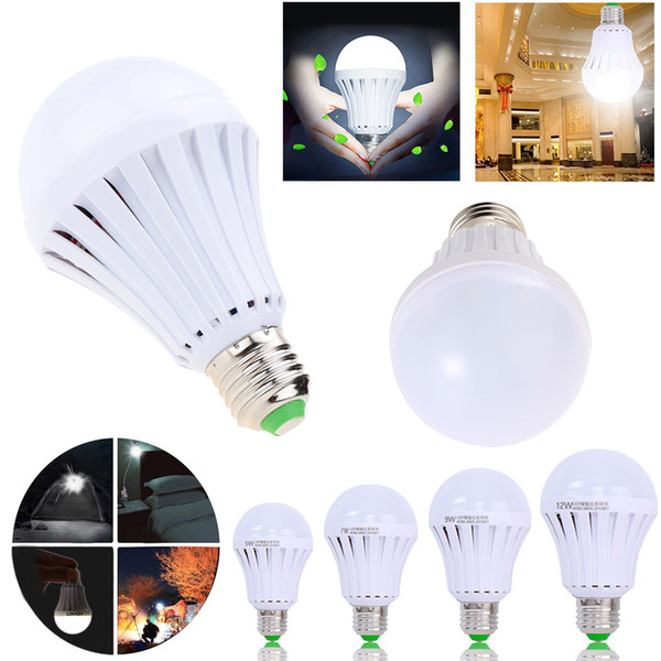 top popular E27 LED Bulbs Emergency Lamp 5W 7W 9W 12W Manual Automatic Control 180 degree Light Street Vendors Use working 3-5 hours 2020