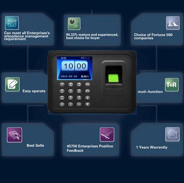 Biométrico A6 Huella digital Tiempo de Asistencia Reloj Registrador Empleado Digital Electrónico Inglés Español Coreano Lector Máquina