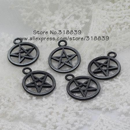 Wholesale-Black Gun Plated Metal Zinc Alloy Pentagram Charms DIY Jewelry Pendant Making Wholesale 30pcs 21*26mm 7778