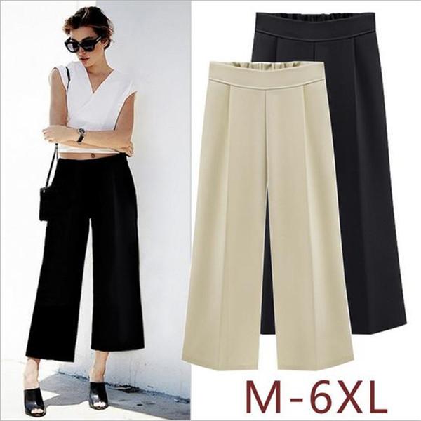 Hodisytian Fashion Women Pants Wide Leg Pants Trousers Casual Summer Pants Solid Color Pantalon Femme Europe Style Plus Size 6XL