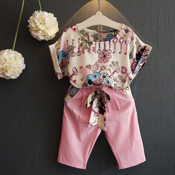 2017 Children Summer Girls Clothing Set Pink Casual Floral T shirts Belt Pants Clothes Suits 2pcs Printing Twinset