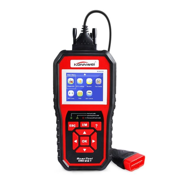 KW850 Enhanced OBD II Scan Tool Check Engine Reader Automotive Car Code Reader, Color Screen Full OBD2/ EOBD Function with O2 Sensor Test