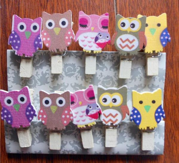 10pcs / pack mini hibou vêtements en bois papier photo pince à linge pince à linge artisanat carte postale clips maison décoration de mariage avec corde