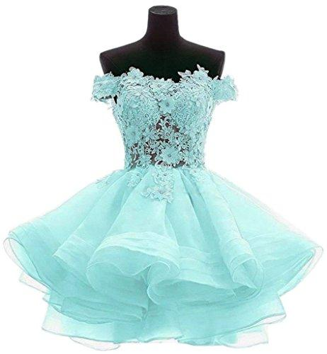 Cute Mint Green Cocktail Dresses Short Pink Evening Gowns Off Shoulder Lace A Line Special Occasion Women Mini Prom Dresses Online