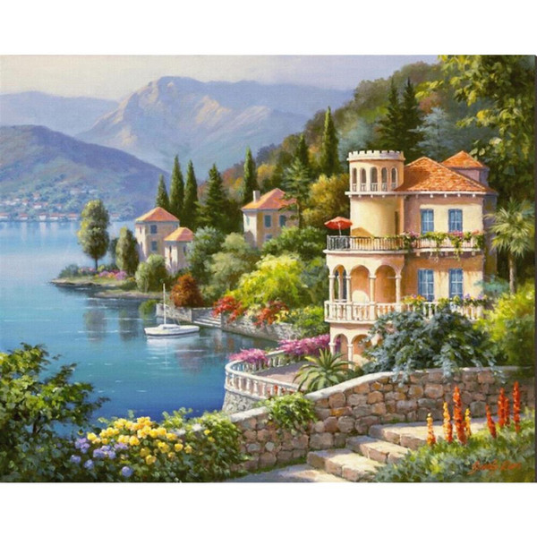 Decoratiive art Sung Kim Lakeside Villa modern mediterranean arch Paintings for wall decor hand-painted
