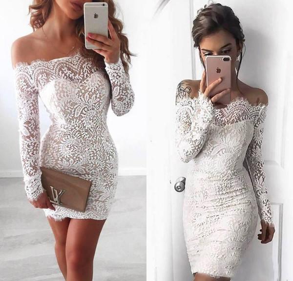 2017 Sexy с плечом Короткой Аппликации Кружево коктейльного платья партии Белые Длинные рукава выше колена Homecoming свадебного платья