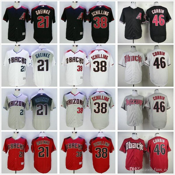 5ef34a5e9 ... Arizona Diamondbacks Baseball Jerseys 21 Zack Greinke 38 Curt Schilling 46  Patrick Corbin White Gray Red ...
