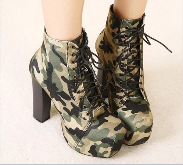 2018 Metal Camouflage Round Toe Ankle Boots Plus Size Women Pumps Platform 14cm Bottom High Heels Boots Stiletto Bride Party Shoes