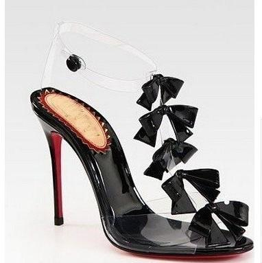 HOTsale 2016 Patent Leather Sandals New Hot T-strap transparent PVC heels Ribbon 100mm red sole high heel shoes.
