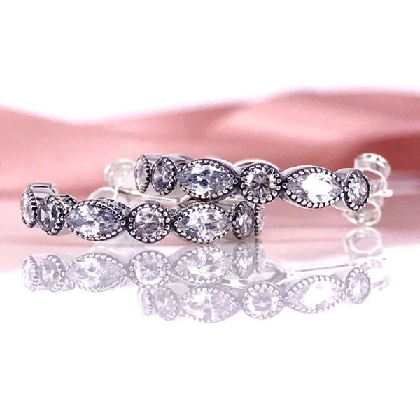 615264acb Jewelry Accessories Authentic 925 Silver Alluring Brilliant Marquise Hoop  Earring With Clear CZ Fits European Style