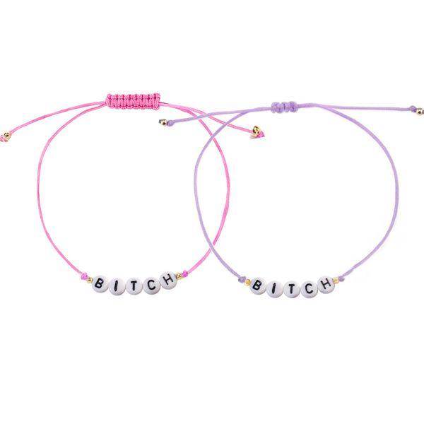 Name Bracelet Personalized Name Alphabet Letter Bracelet Adjustable Handmade Cotton Cord Slip Friendship Bracelet