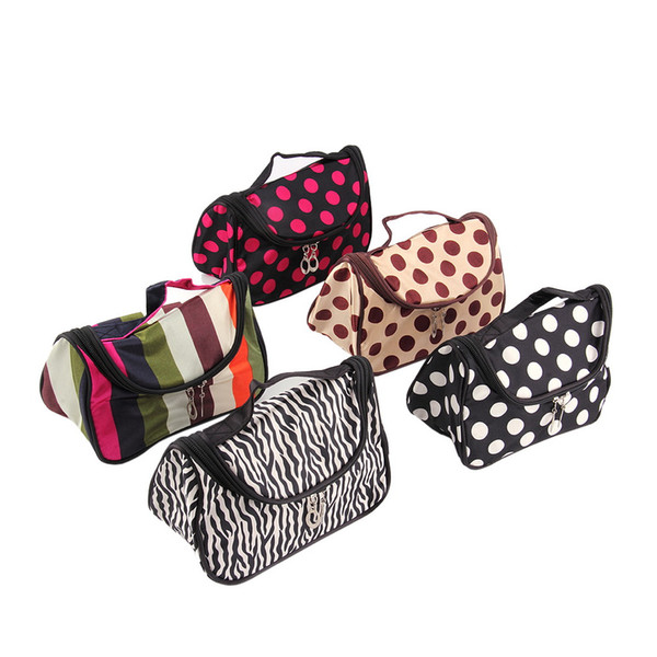 Wholesale- Dot Toiletry Bag Cosmetic Bag Cosmetic Case large capacity portable Women Makeup cosmetic bags storage travel bag Worldwide sale