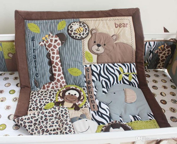 Baby Bedding Set Cotton 3D Embroidery Bear Elephant Giraffe Owl Animal world Quilt Bumper Mattress Cover 7 Pieces