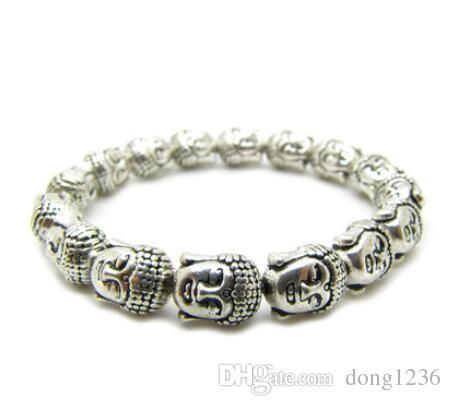 New Sakyamuni head Buddha head Tibetan silver hand bracelet
