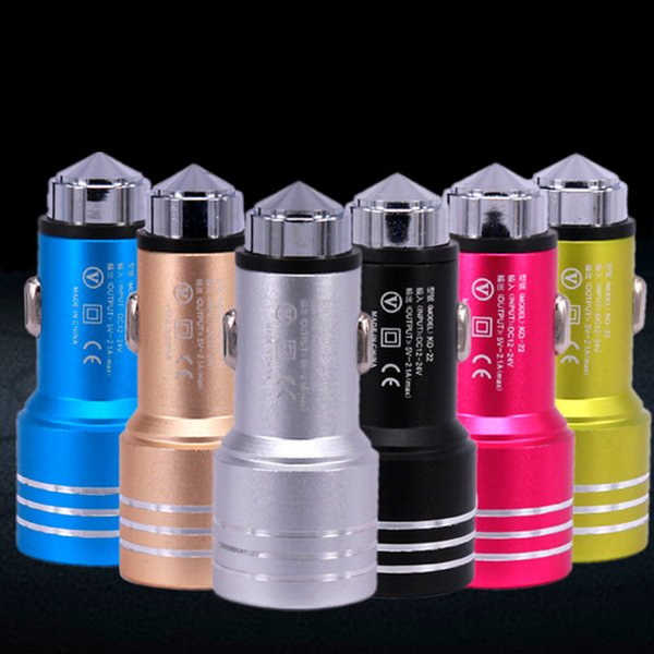 Best Price Emergency Safety Hammer Style Aluminum Alloy Metal Dual Port USB DC Car Charger For iphone 6 7 samsung s8 Android Phones 6 Colors