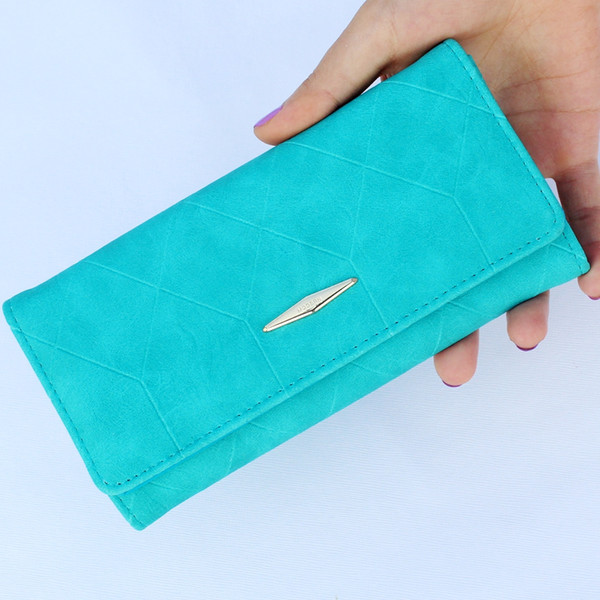 Wholesale- New fashion Ling grid embossed wallet wallet purse,Ladies clutch long purse,Female Hasp wallet coin purse card holder Carteira