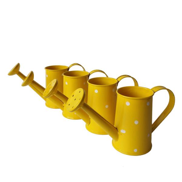 Frete Grátis Amarelo Metal Favor Pail Mini Pequeno Regador projeto Dot balde flor de metal decorativo latas de água